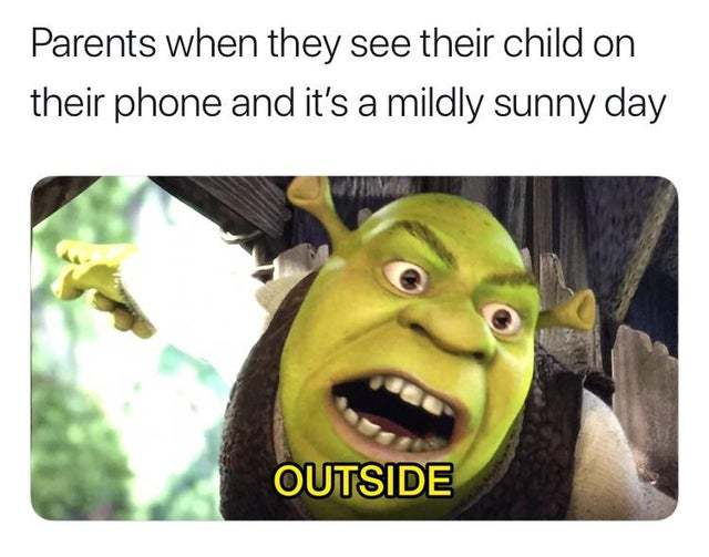 Parents when they see their child on their phone and it's a mildly sunny day - meme