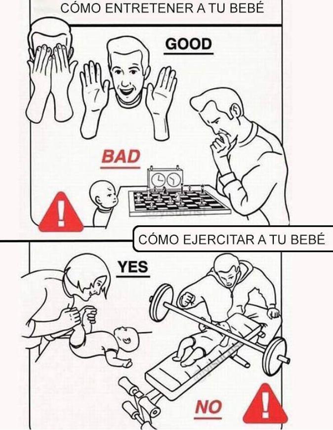 Cómo criar a un bebe - meme