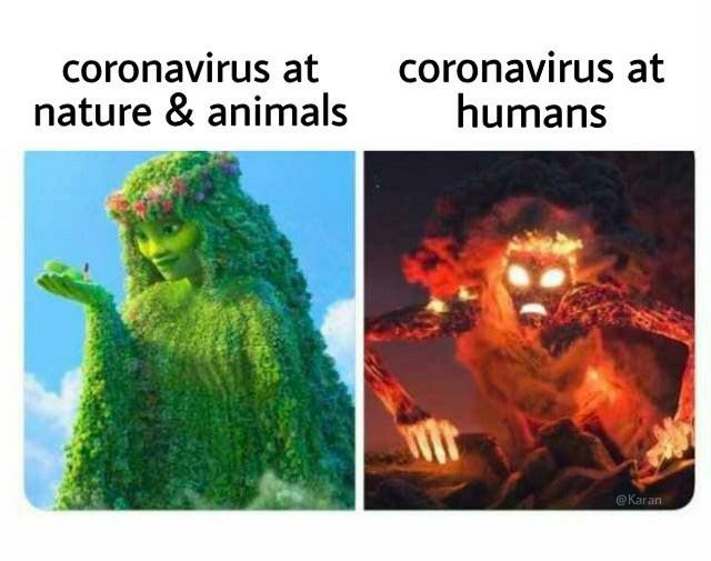 Why do humans have to make it everything about themselves. The virus is just protecting the nature for our better future. - meme