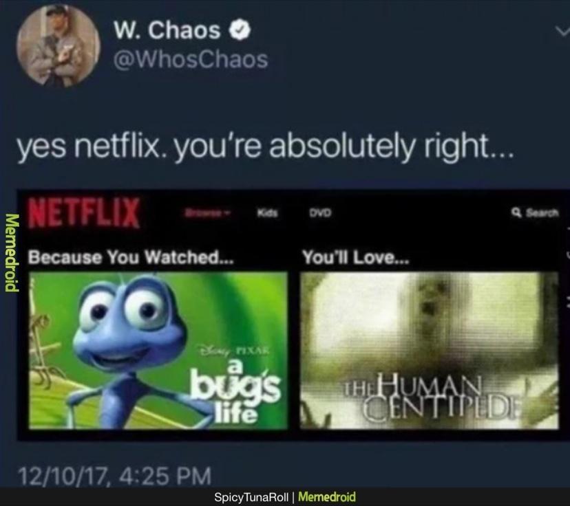 a bugs centipede - meme