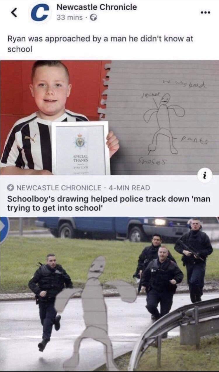 """Trad 1: Ryan a été approché par un homme qu'il ne connaissait pas à l'école / Trad 2 : Le dessin de l'écolier a aidé la police à retrouver """"l'homme qui essayait d'entrer à l'école"""". - meme"""
