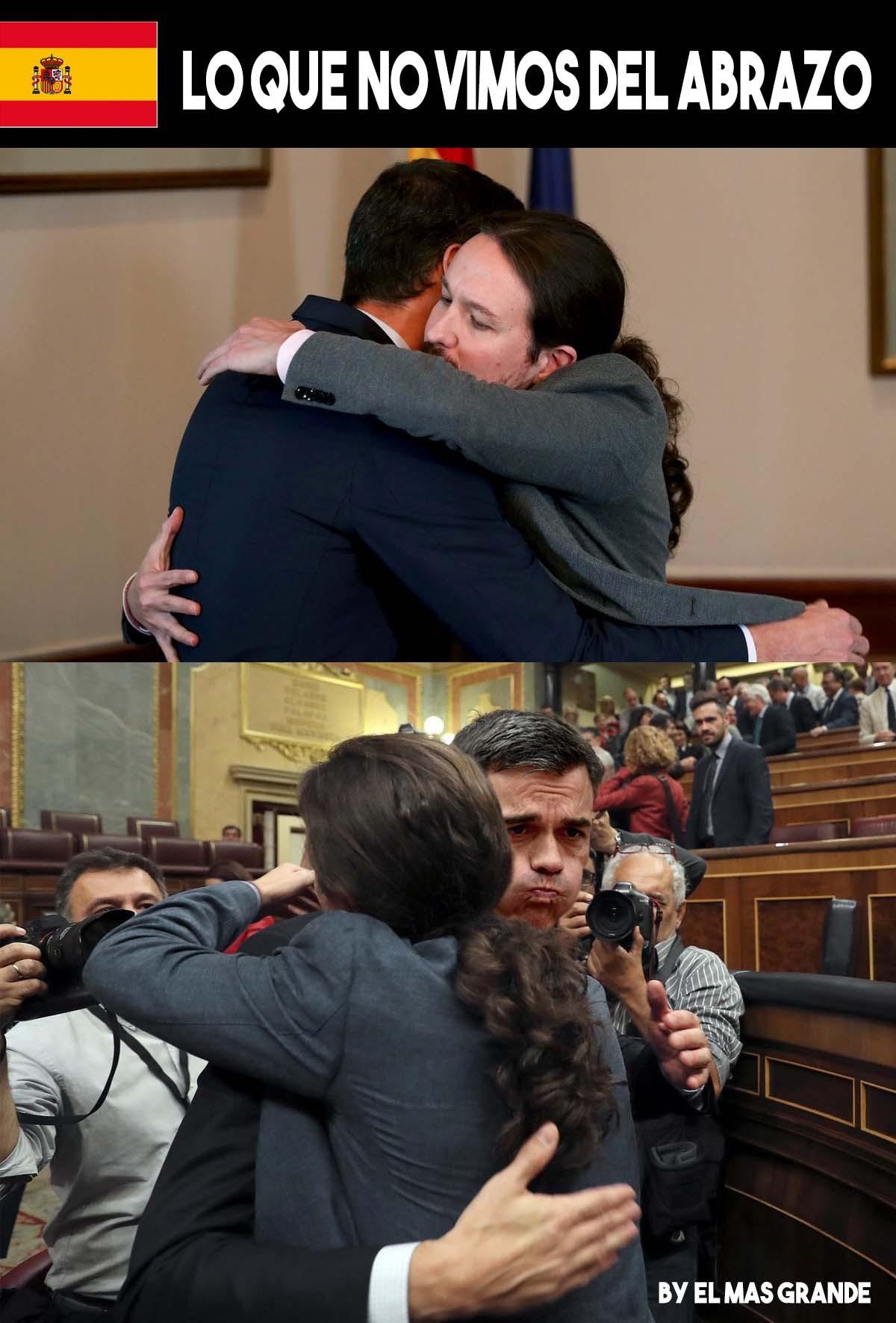 Lo que no se vio del abrazon entre Pedro Sanchez y Pablo Iglesias - meme