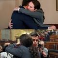 Lo que no se vio del abrazon entre Pedro Sanchez y Pablo Iglesias