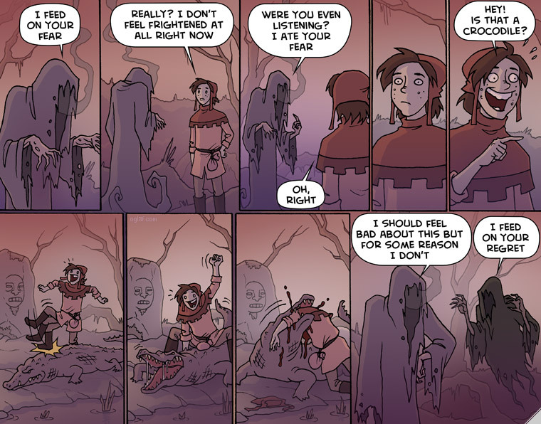 If something feeds on your fear, it technically makes you stronger as well.      Author is Oglaf, all of his comics at Oglaf.com NSFW - meme