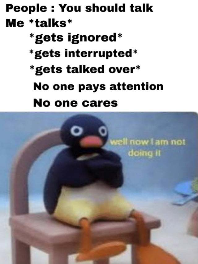Why I don't talk much - meme