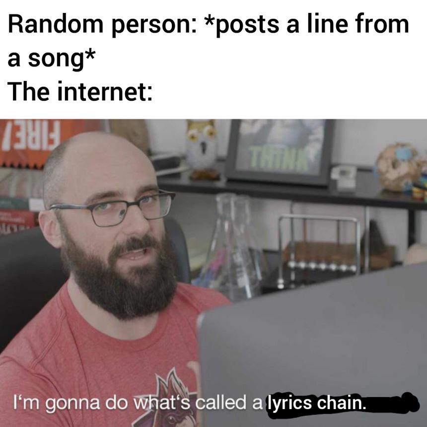 I love lyrics chains - meme