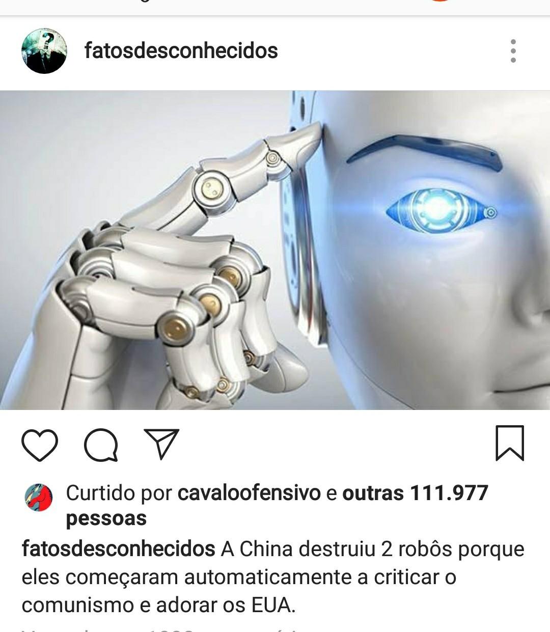 Até os robôs sabem - meme