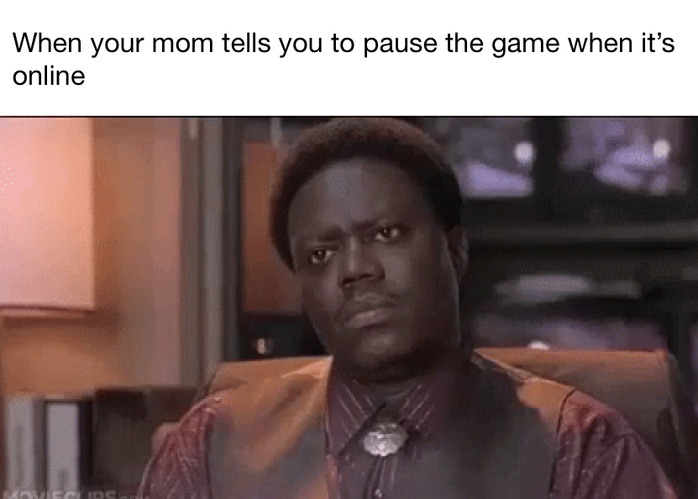 When Your mom tells you to pause the game when it's online - meme