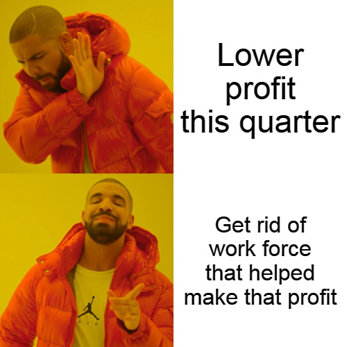 When company makes less profit - meme