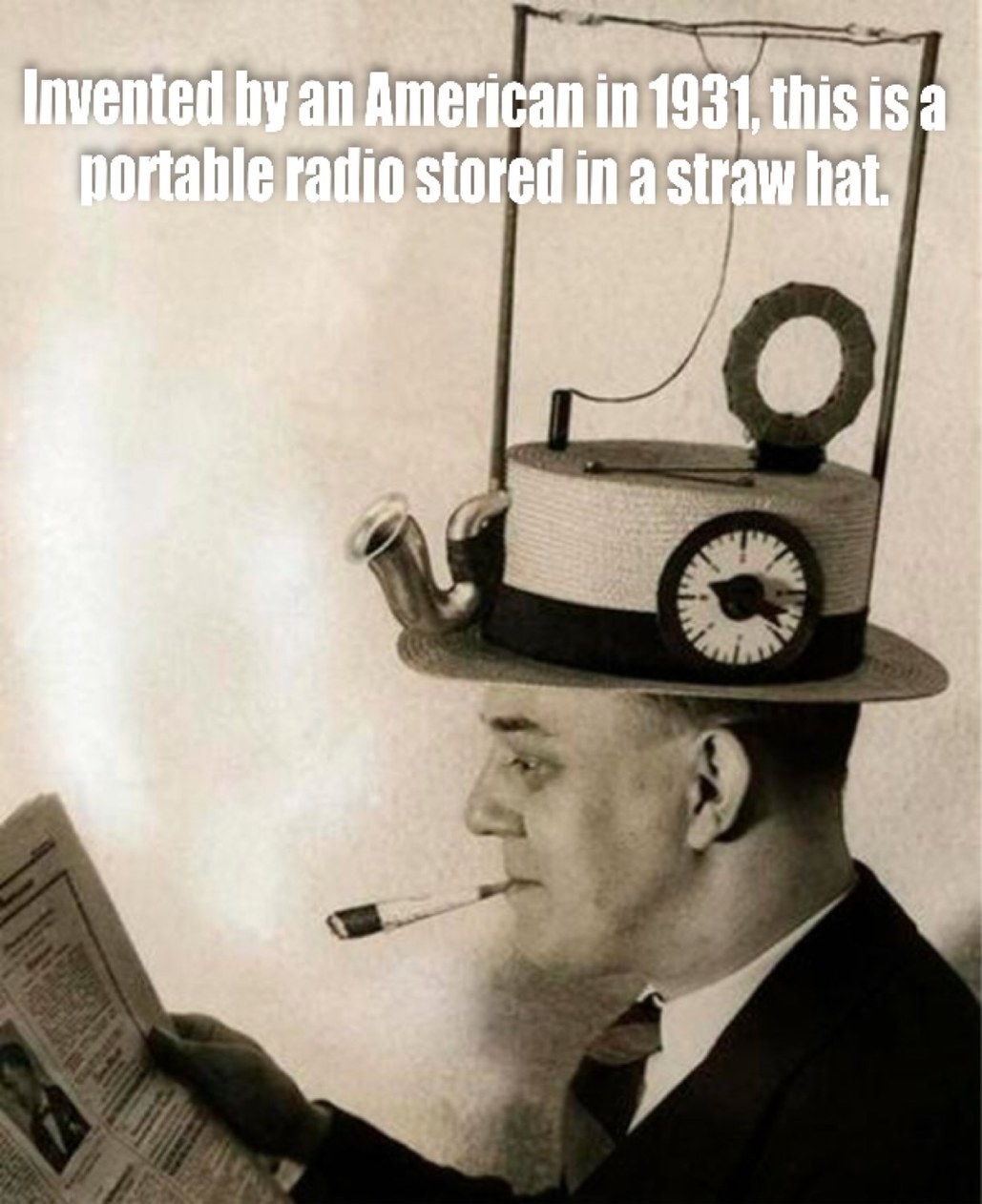 Ah! The spirit of invention in America! The first radio head! - meme