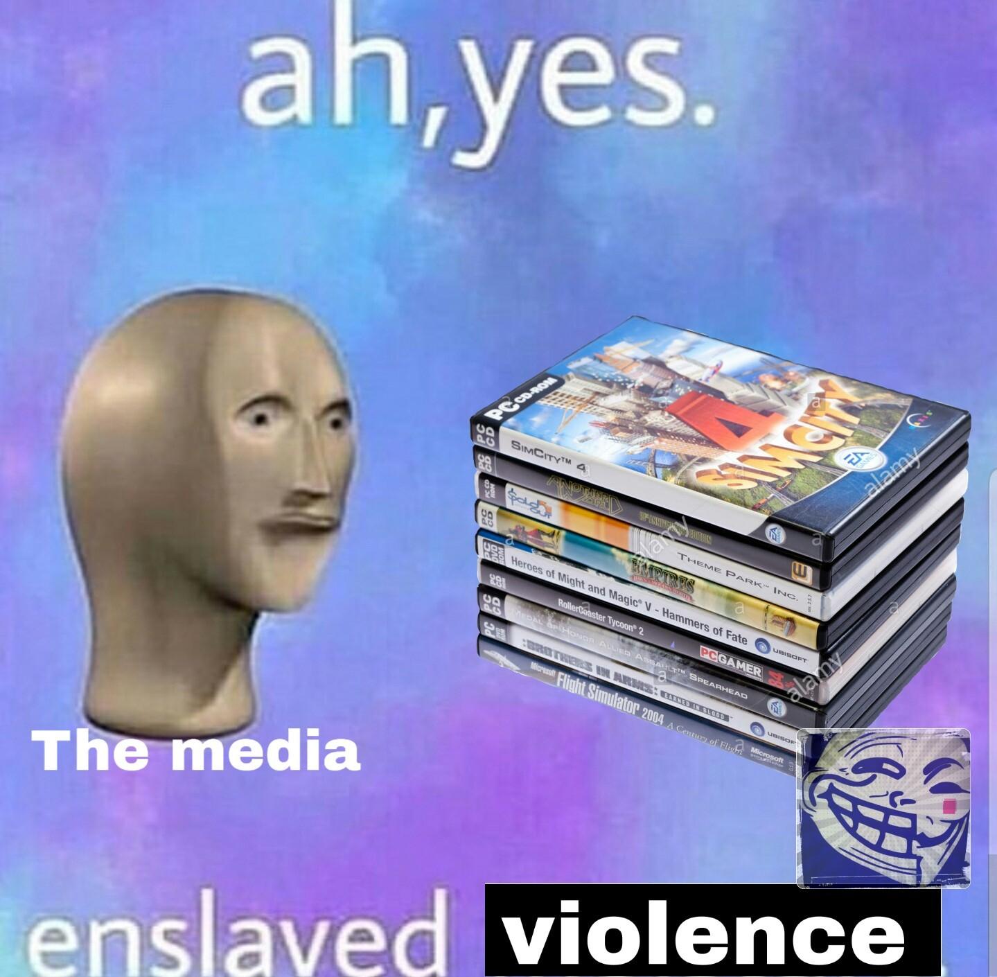 (looking at the media) Ah yes, enslaved lies - meme