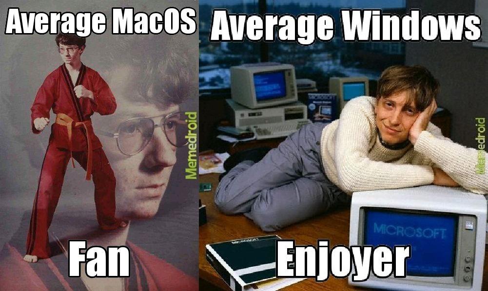 Average macOS fan vs average windows enjoyer - meme