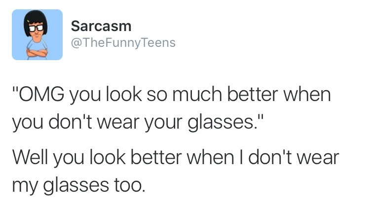 Better without glasses - meme