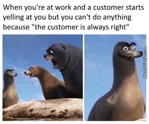 Work and a customer - meme