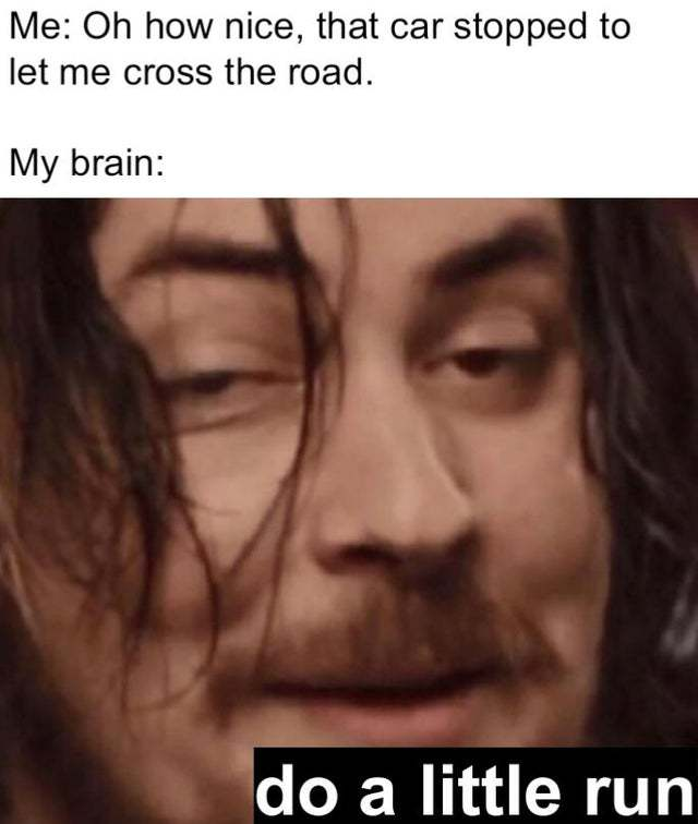 Oh how nice, the car stopped to let me cross the road - meme