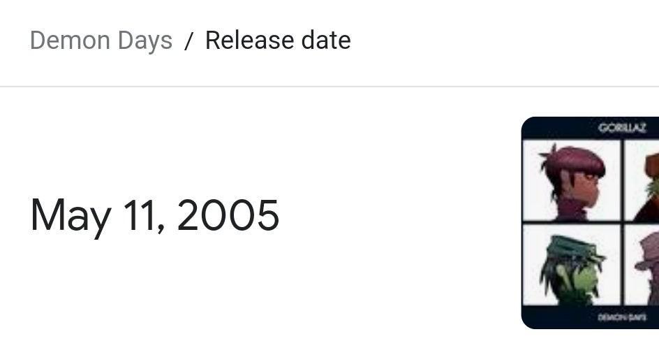 ¡¡¡Feliz Aniversario Demon Days alias el mejor álbum del puto mundo!!!!! - meme