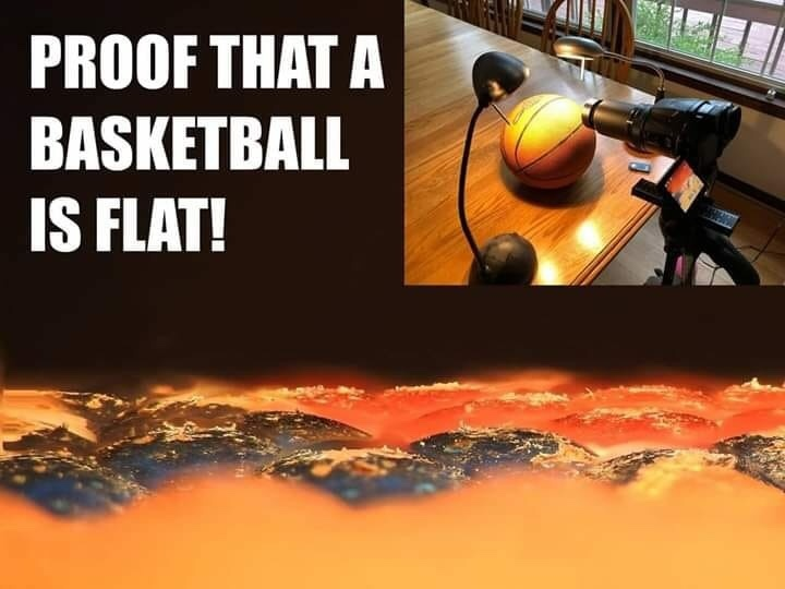 basketballs are flat - meme