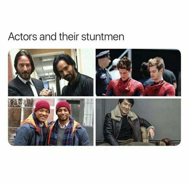 Actors and their stuntmen - meme