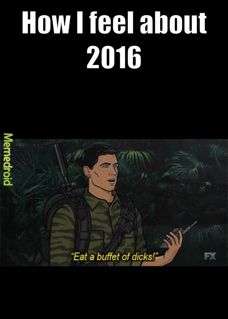 Fuck 2016 in the ass with a sandpaper condom - meme