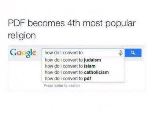 PDF becomes the 4th most popular religion - meme