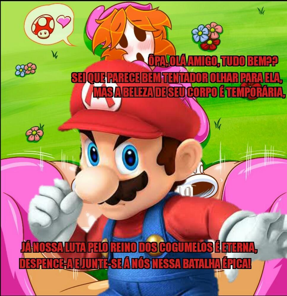 Mario passando na sua tela para te fazer um convite. - meme