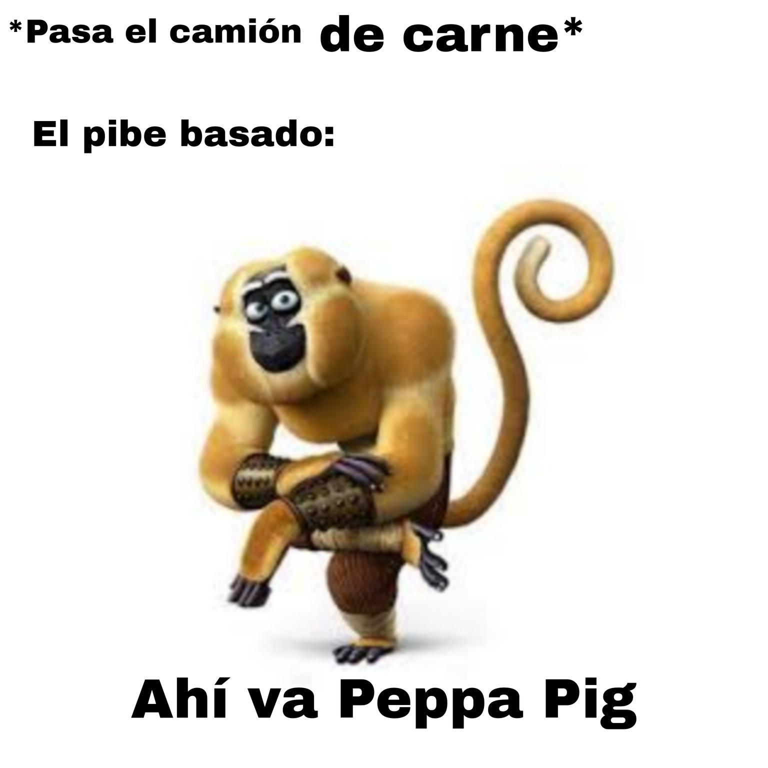 Ahí va Peppa Pig y su familia - meme