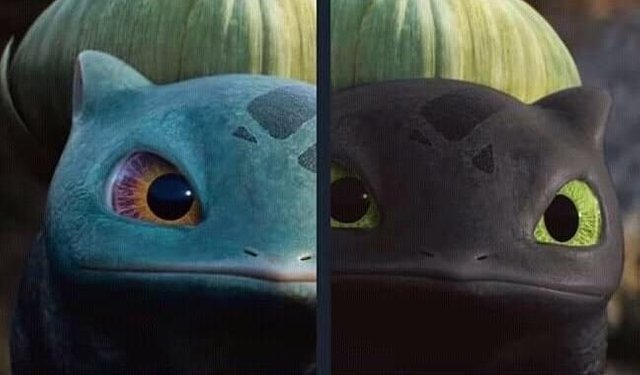 Bulbasaur is just baby toothless - meme