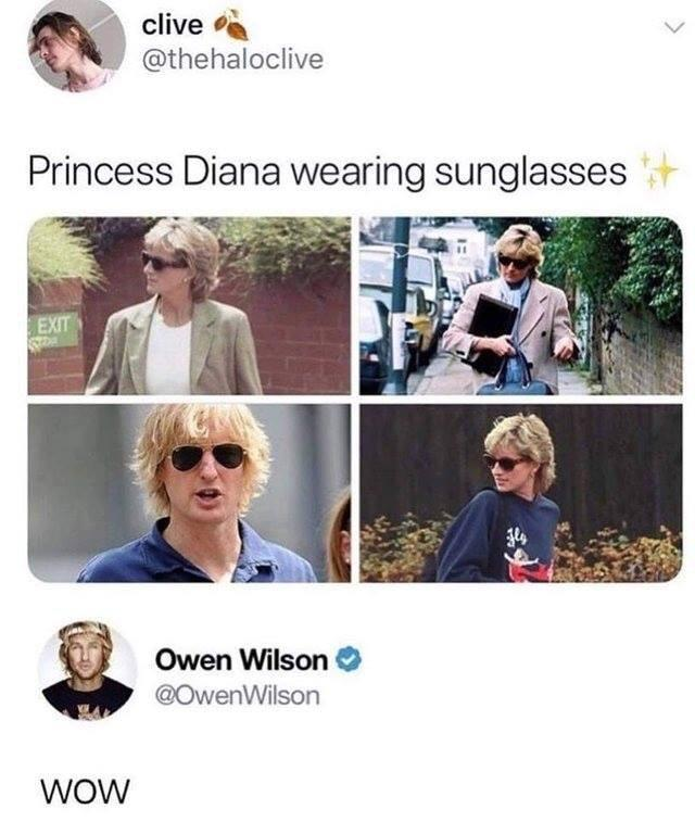 Princess Diana wearing sunglasses - meme