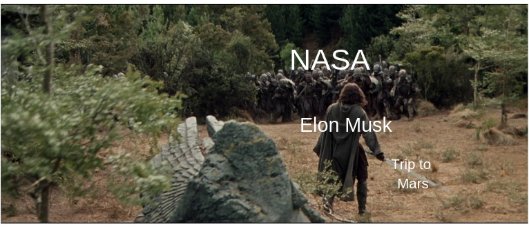 Elon Musk's going to clobber NASA with his Mars rocket. - meme