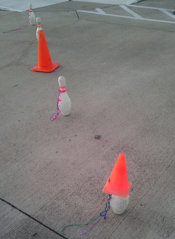 When the bowling place runs out of cones - meme