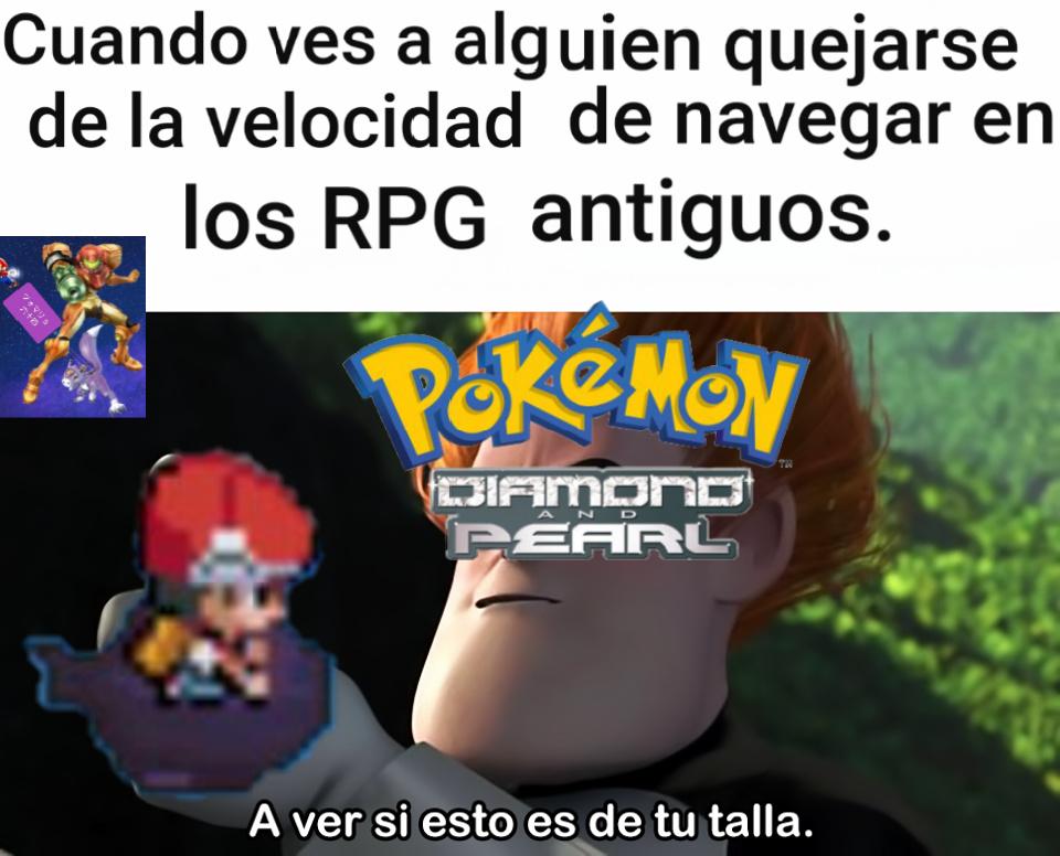 Explicación: las primeras ediciones de Pokémon 4 son criticadas por ser lentas y varios sufren al surfear. Y Empecé a jugar la saga Dragon Quest, me pasé el 1 y ahora estoy jugando el 2 y el 6 - meme