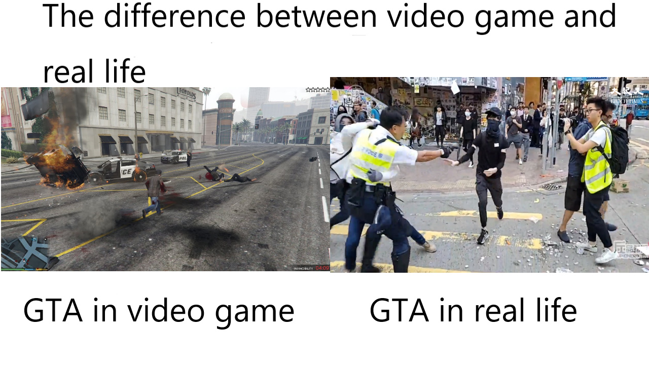 The difference between video game and real life - meme