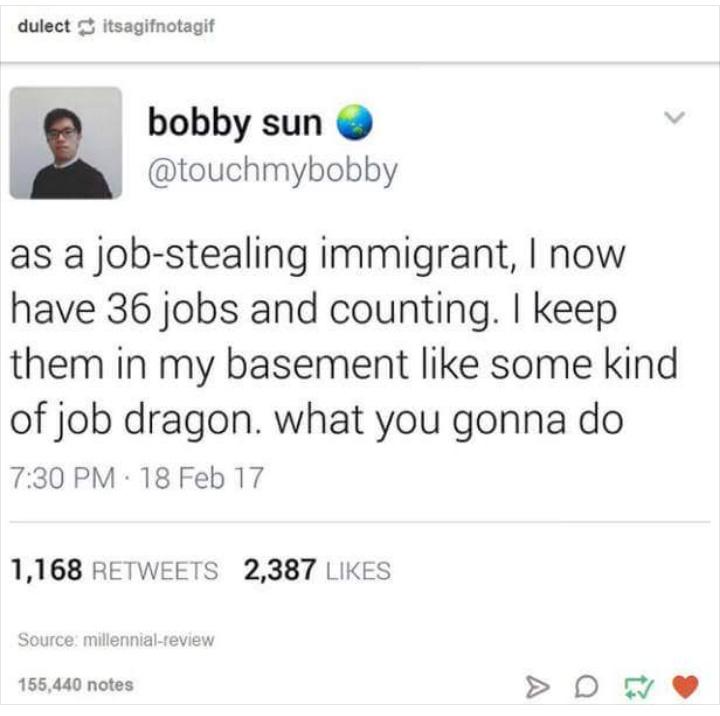 Inmigrants steal our jobs - meme