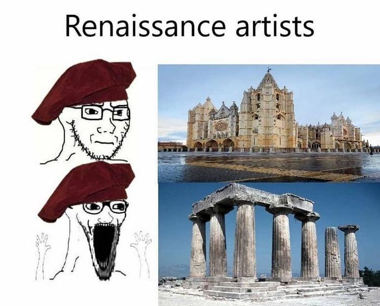 o renascentistas chamavam a arquitetura gótica de arquitetura bárbara,mas algum bárbaro construiria algo tão belo como a catedral de Notre Dame? - meme