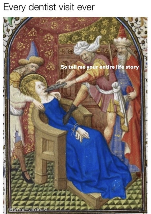 Lying about flossing since 229 A.D. - meme