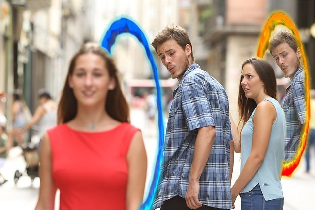 Distracted boyfriend meets portal - meme