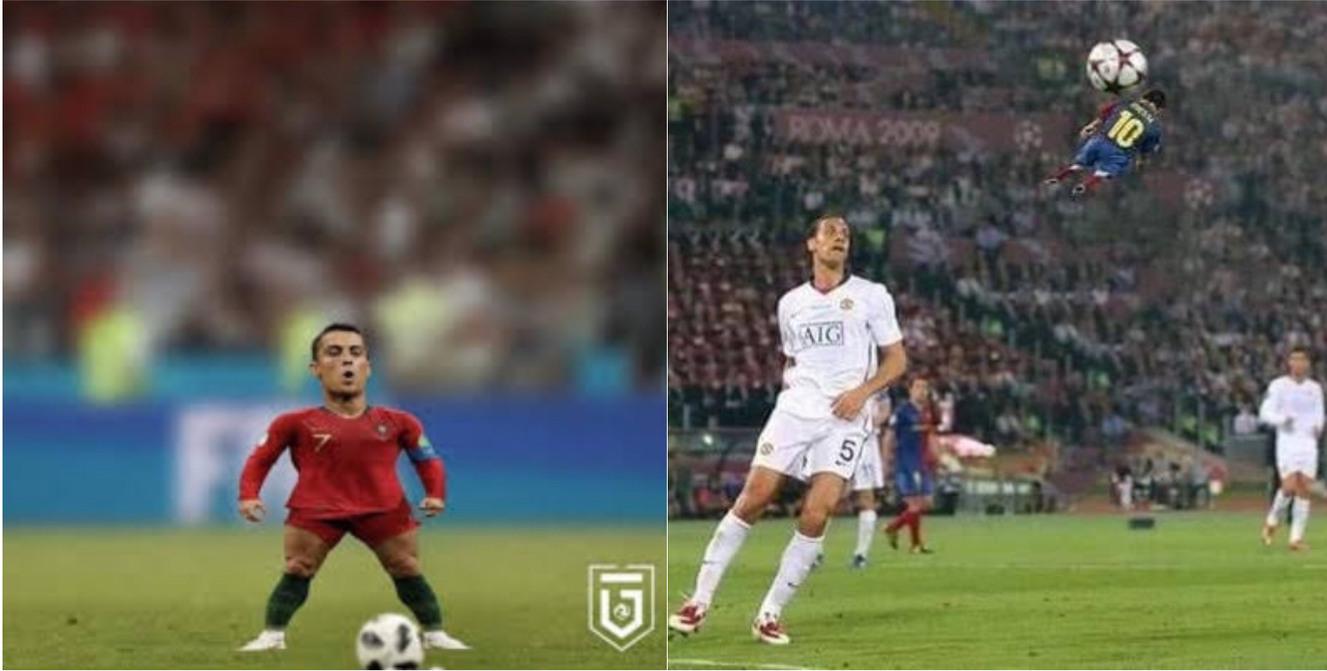 Cr7 y Messi pequeños - meme