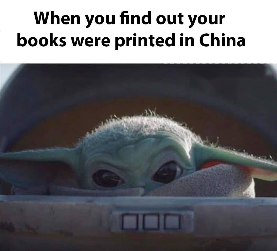Baby Yoda wants clean books - meme
