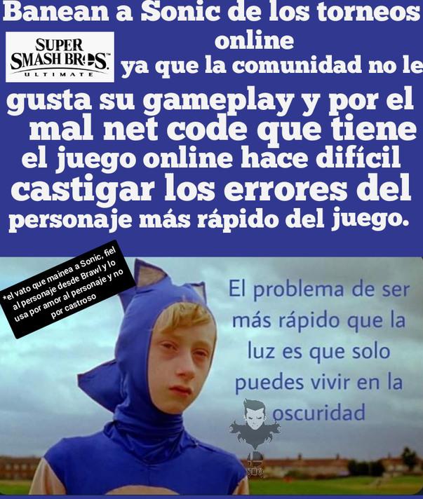 Chales hasta en Smash sufren los fans de Sonic  - meme