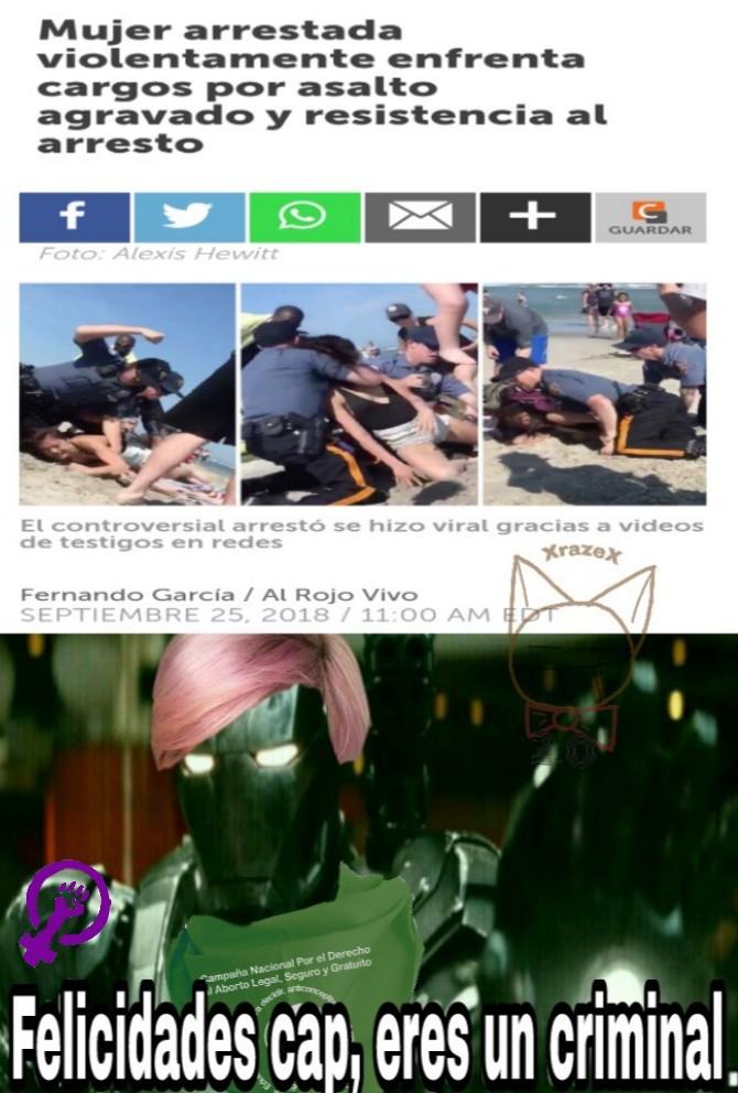 Marcha porque un policía hacía su trabajo XD - meme