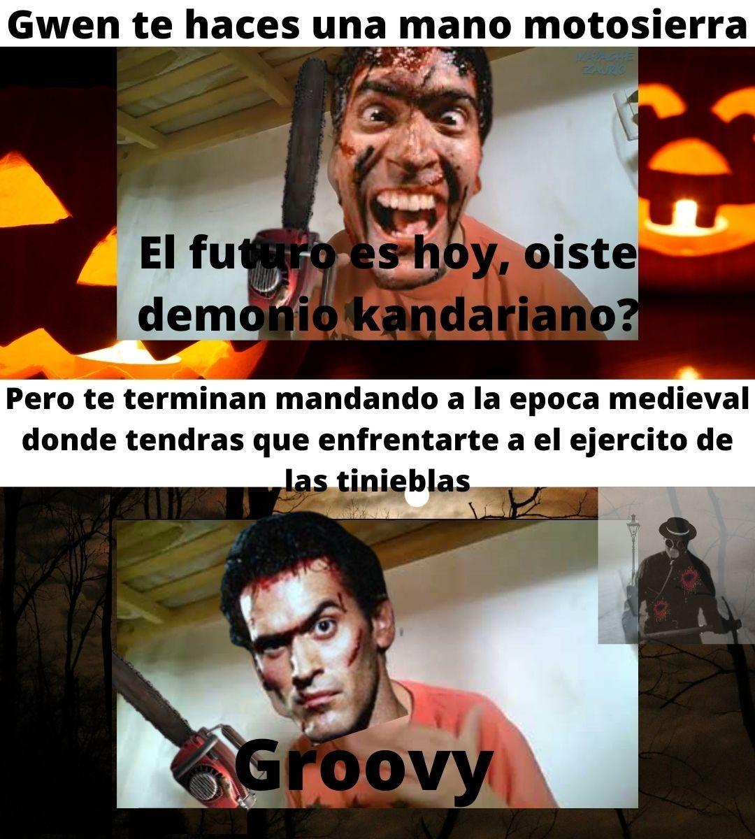Feliz halloween, es una referencia a the evil dead.¿Nadie entendio? Esto me pasa por hacer momos para gente culta :okay: :greek: - meme