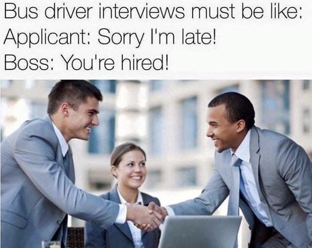 Bus driver job interview - meme