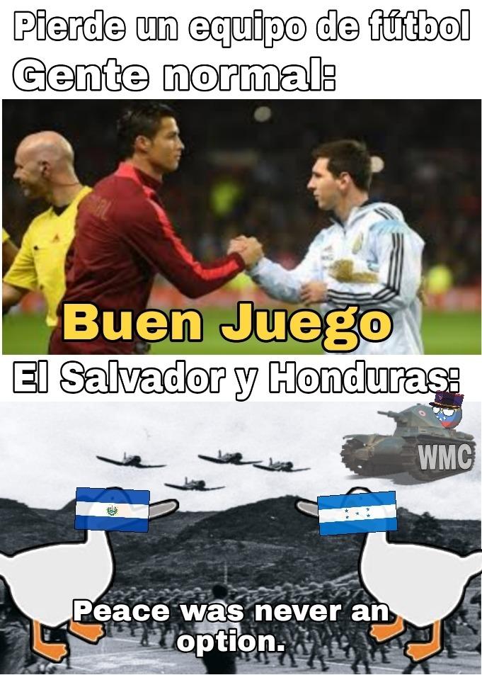 La guerra de las cien horas, conocida como la guerra del fútbol - meme