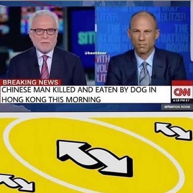 """""""Homem chinês morto e comido por cachorro em Hong Kong essa manhã"""" - meme"""