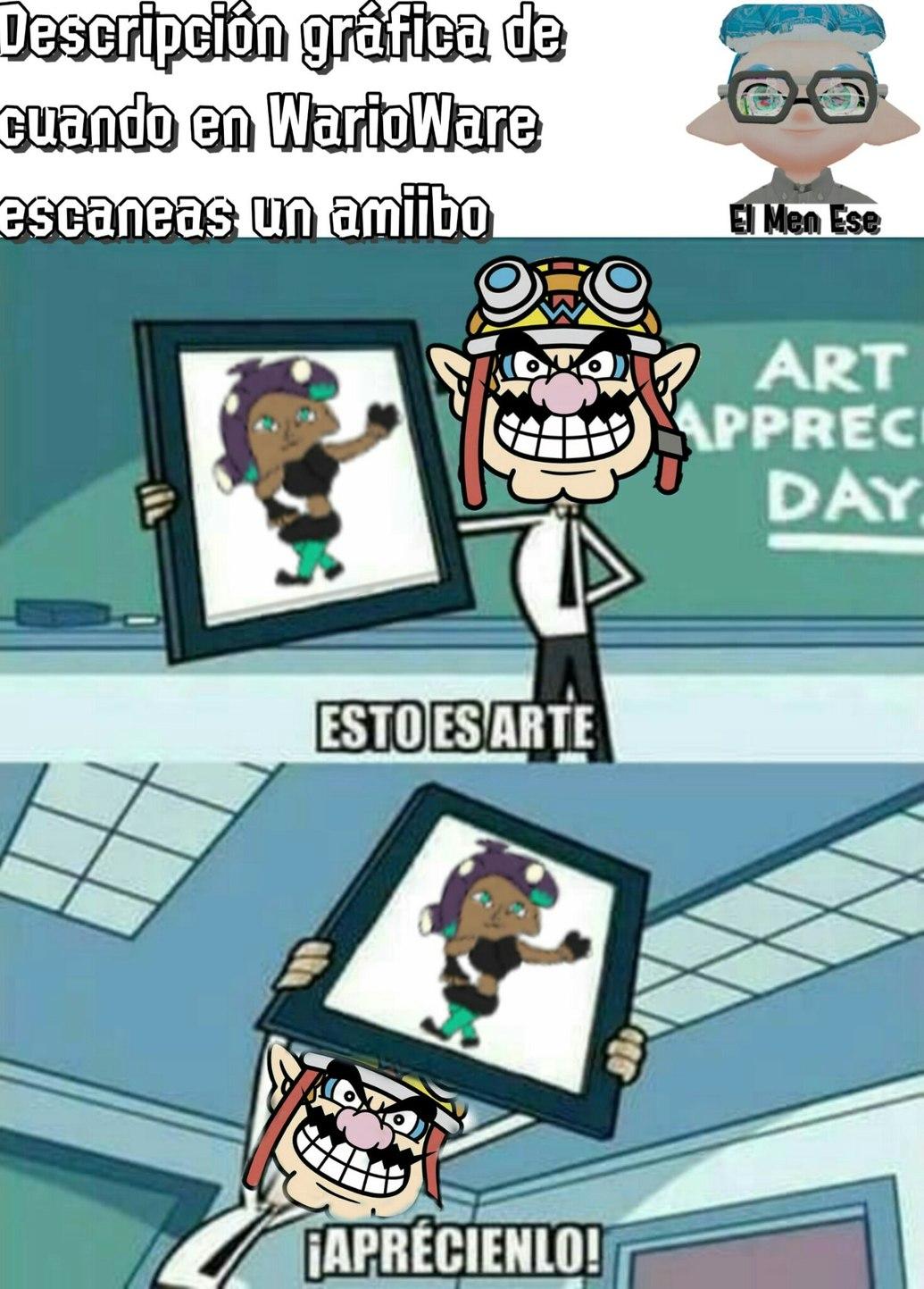 Para quien no entienda, en WarioWare cuando escaneas un Amiibo, Wario hace un dibujo del personaje - meme