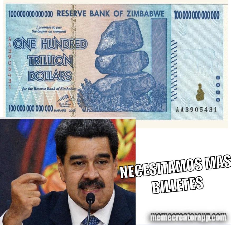 Cien trillones de dólares en un billete - meme