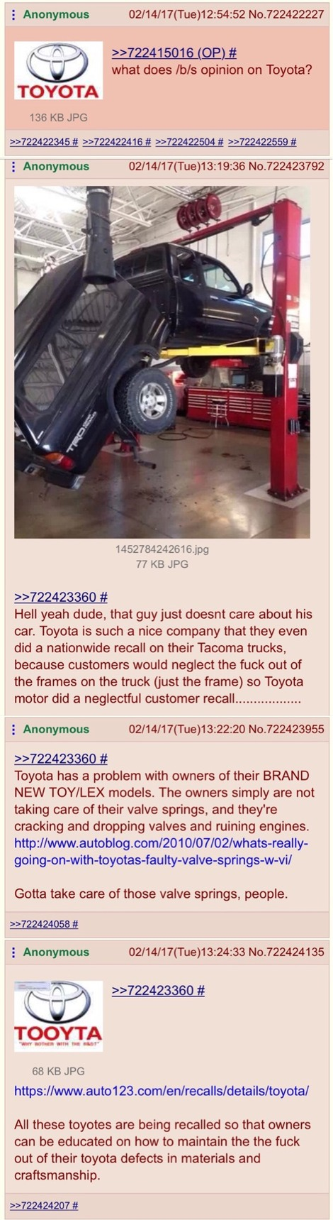 guess /b/ doesn't like Toyota - meme