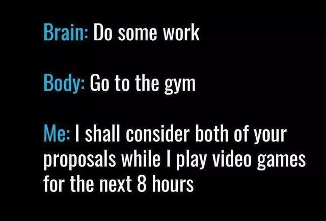 Doing some work vs going to the gym - meme