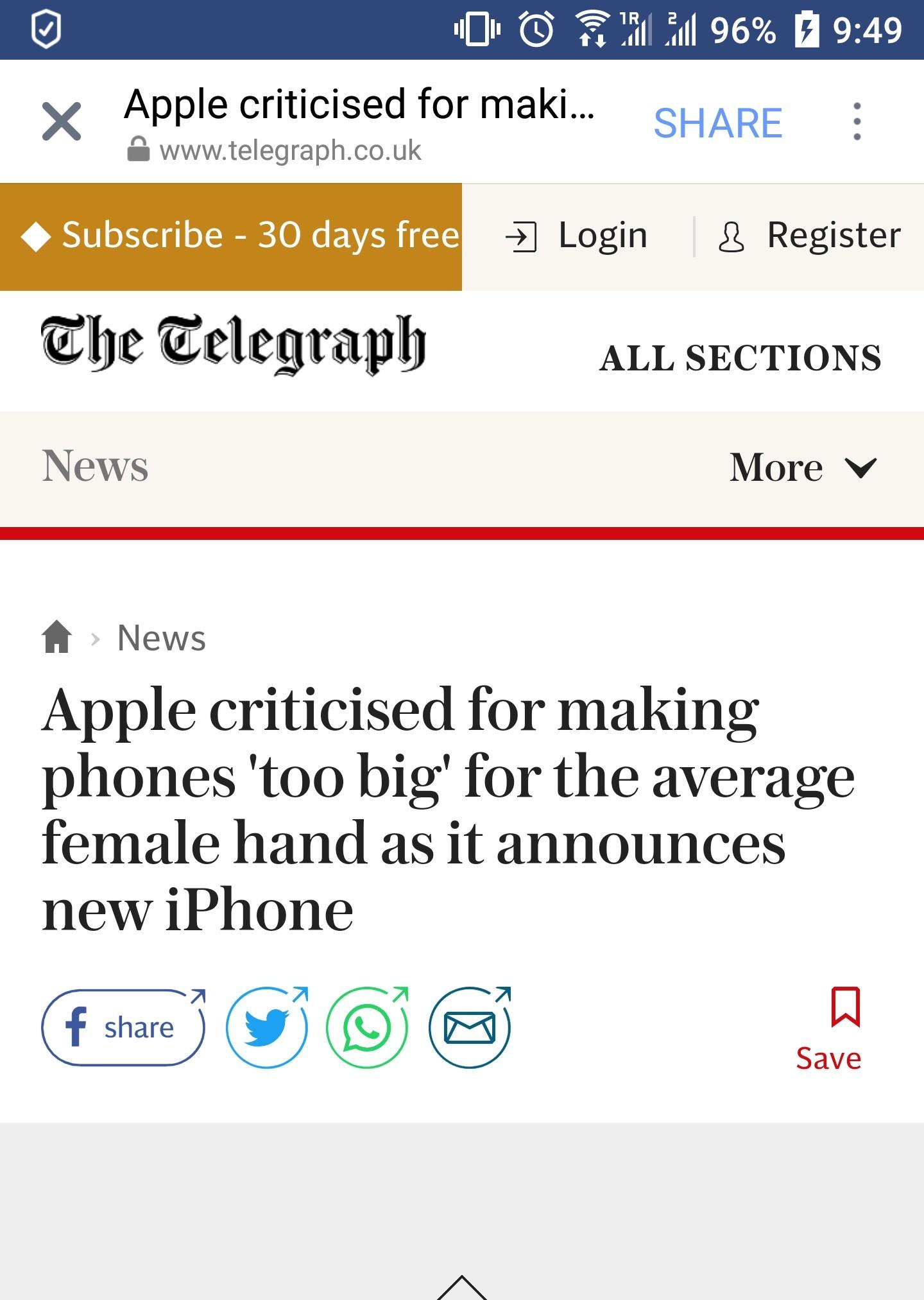 Apple though women like it big - meme