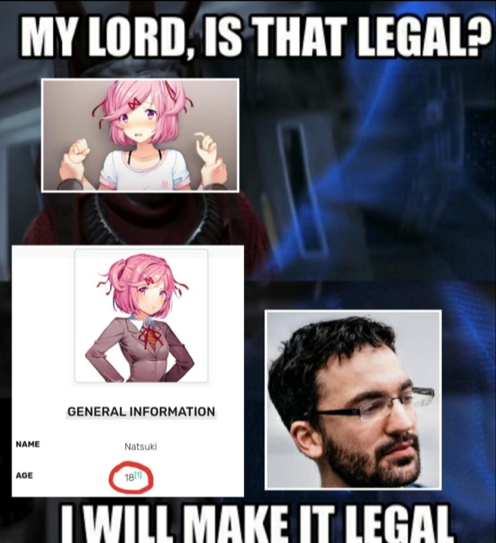 Jesus, stop calling the Lolice every time u see a Natsuki lewd - meme